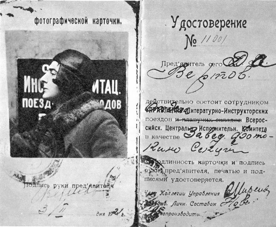 Carnet de Vertov como jefe de departamento de cine de un tren de agitación